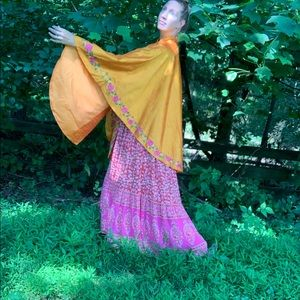 Vintage Raw Silk Embroidered Poncho Cape